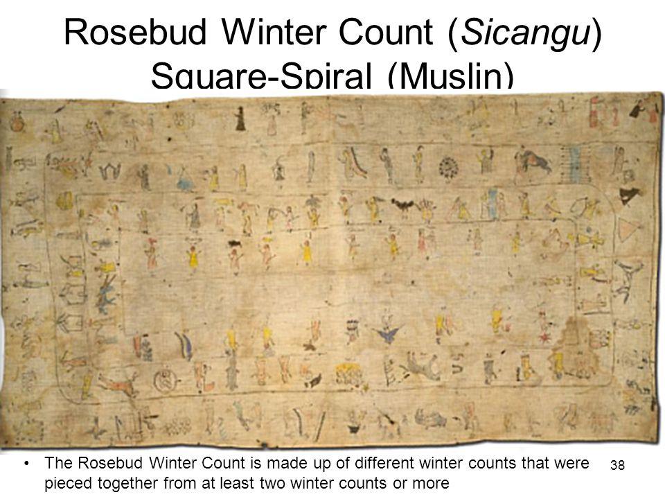 Rosebud Winter Count (Sicangu) Square-Spiral (Muslin)