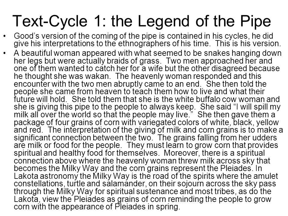 Text-Cycle 1: the Legend of the Pipe