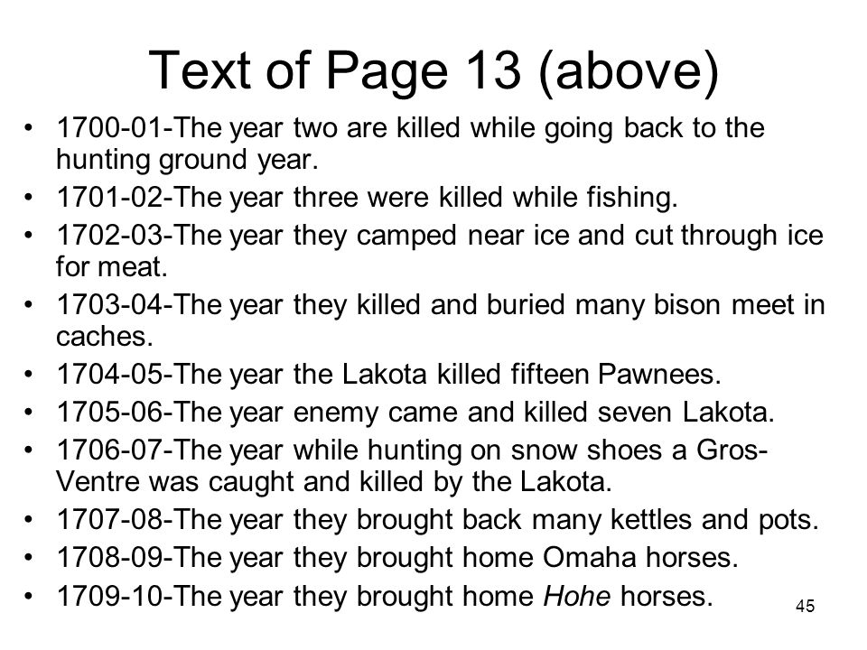 Text of Page 13 (above) 1700-01-The year two are killed while going back to the hunting ground year.