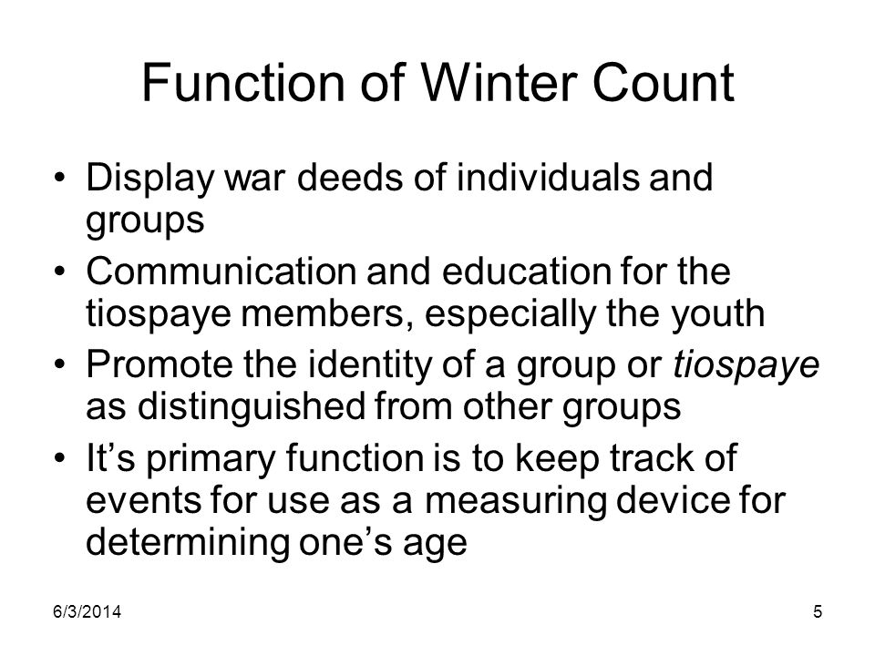 Function of Winter Count