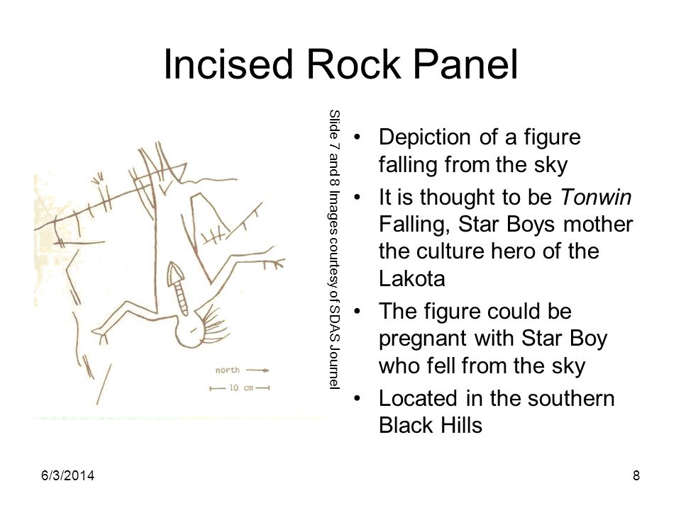 Incised Rock Panel Depiction of a figure falling from the sky