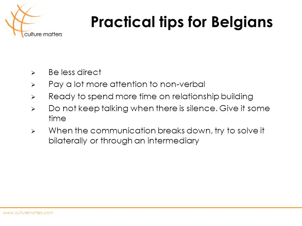 Practical tips for Belgians