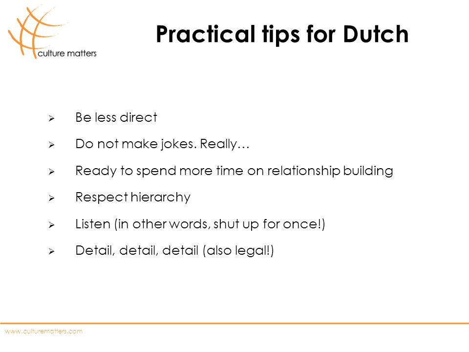 Practical tips for Dutch