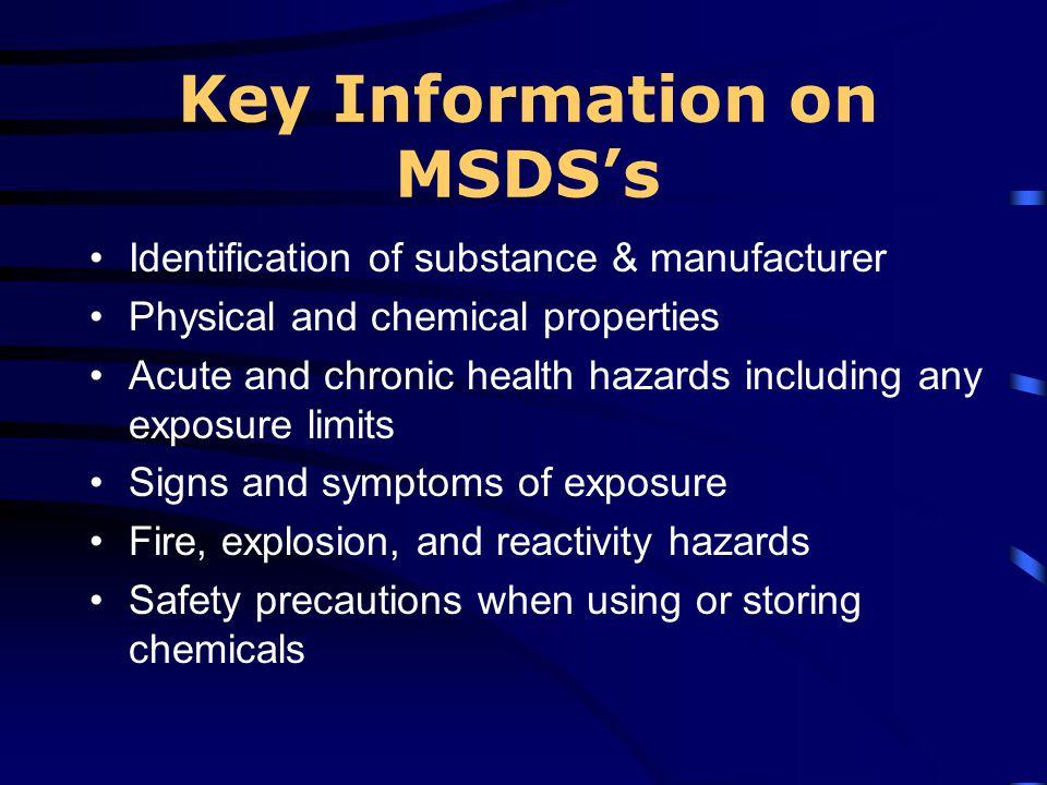 Key Information on MSDS's