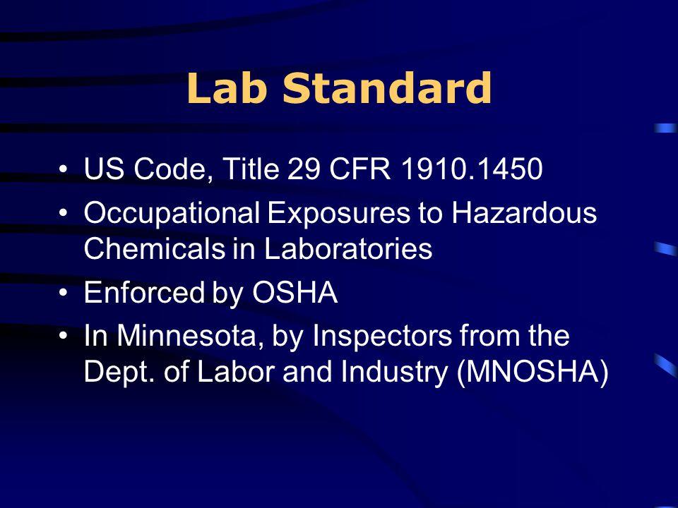 Lab Standard US Code, Title 29 CFR 1910.1450