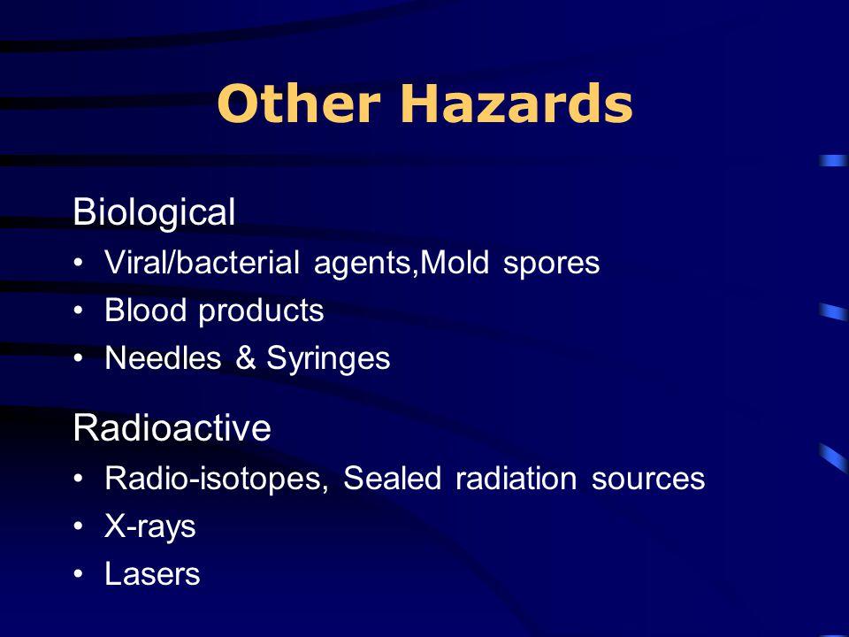 Other Hazards Biological Radioactive