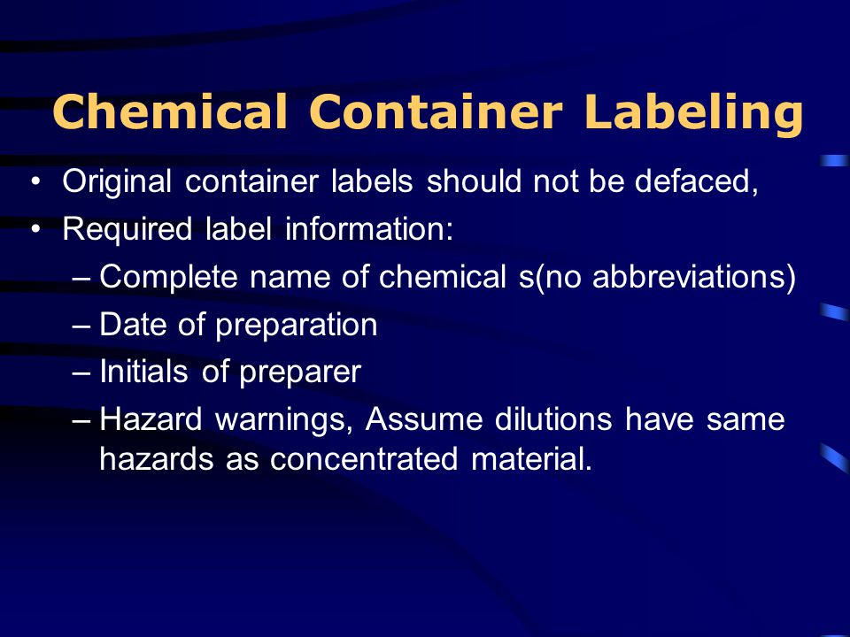 Chemical Container Labeling