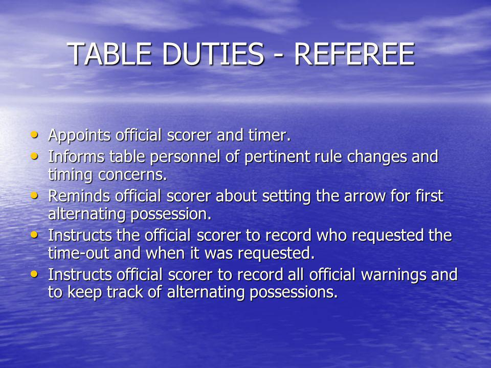 TABLE DUTIES - REFEREE Appoints official scorer and timer.