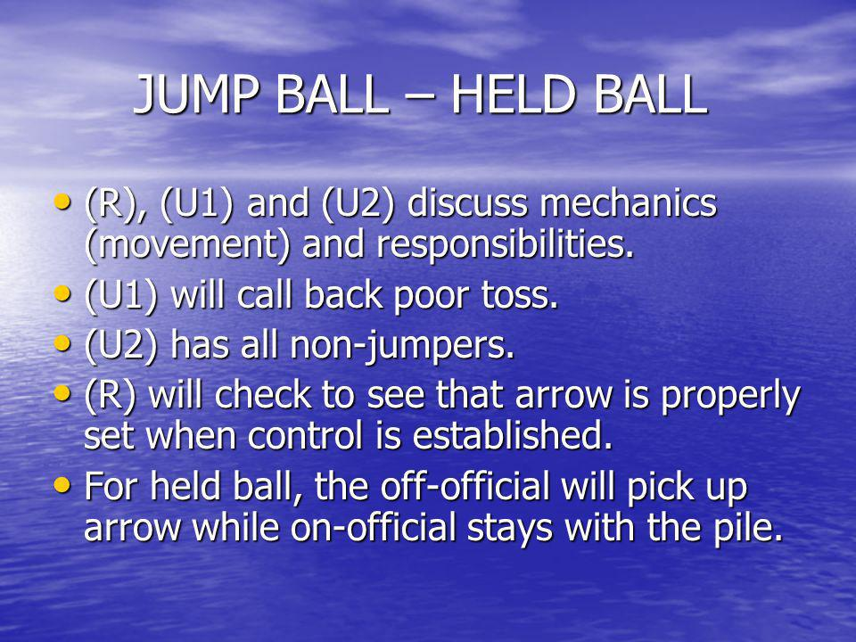 JUMP BALL – HELD BALL (R), (U1) and (U2) discuss mechanics (movement) and responsibilities. (U1) will call back poor toss.