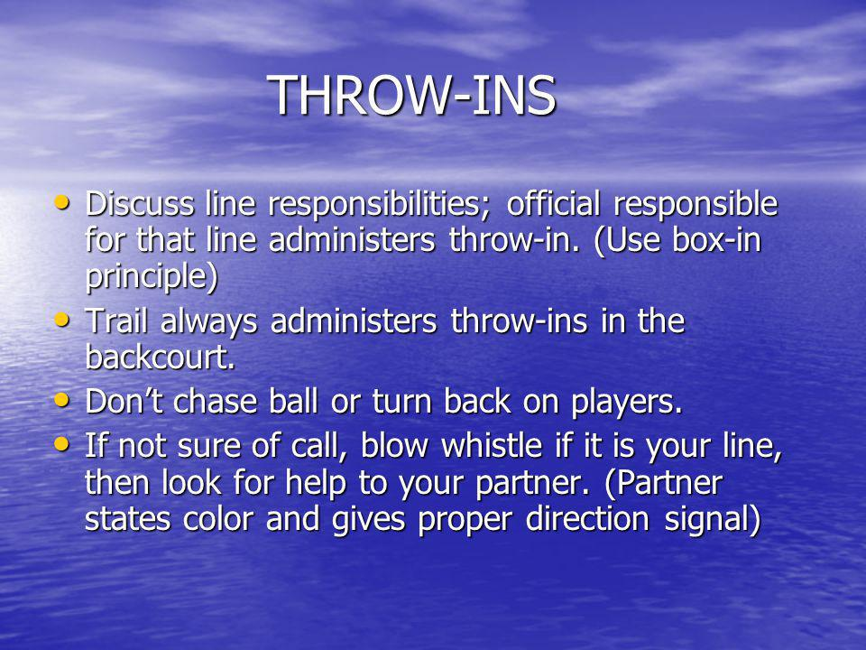 THROW-INS Discuss line responsibilities; official responsible for that line administers throw-in. (Use box-in principle)