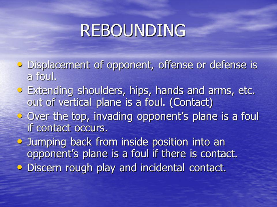 REBOUNDING Displacement of opponent, offense or defense is a foul.