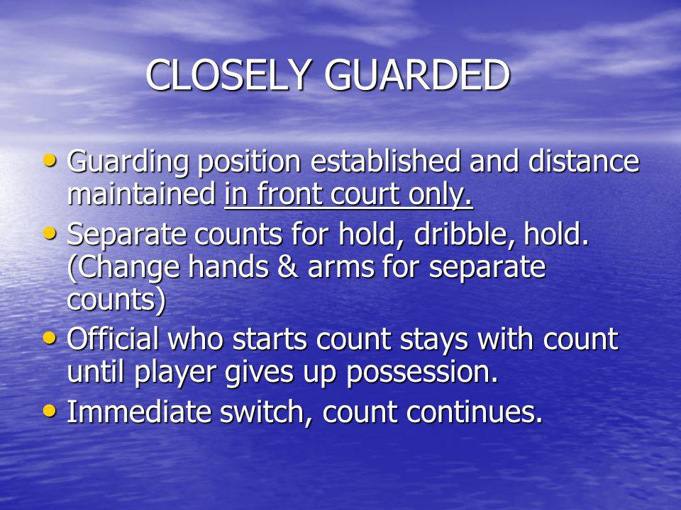 CLOSELY GUARDED Guarding position established and distance maintained in front court only.