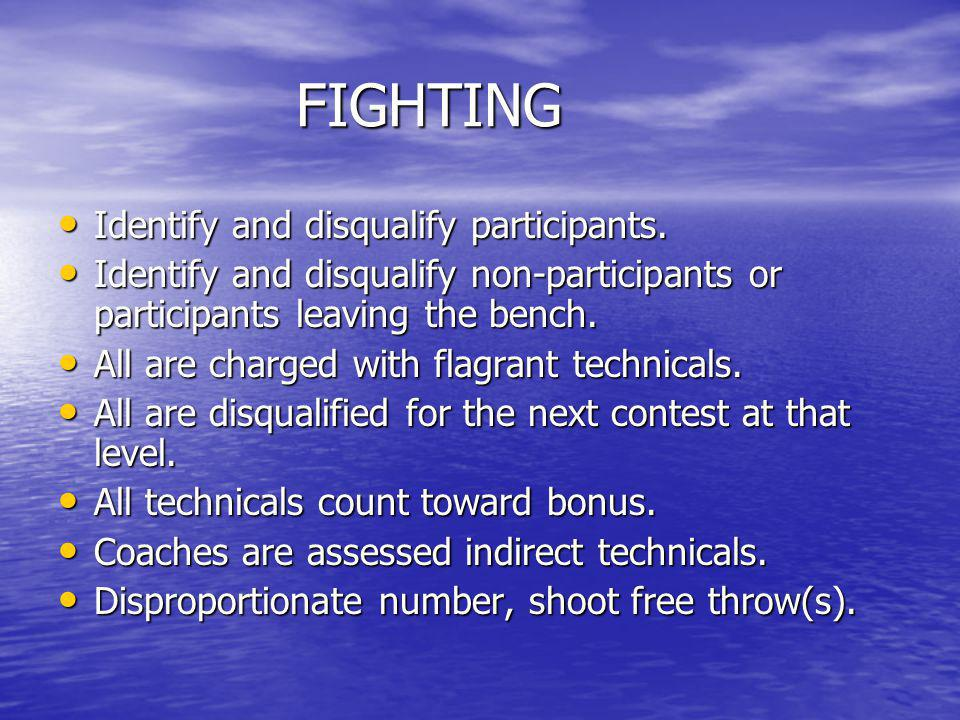 FIGHTING Identify and disqualify participants.