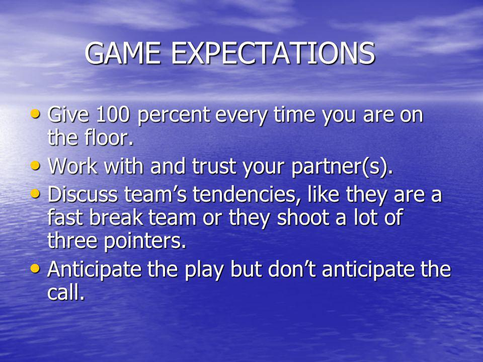 GAME EXPECTATIONS Give 100 percent every time you are on the floor.