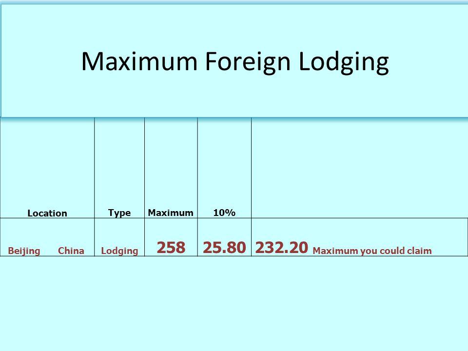 Maximum Foreign Lodging