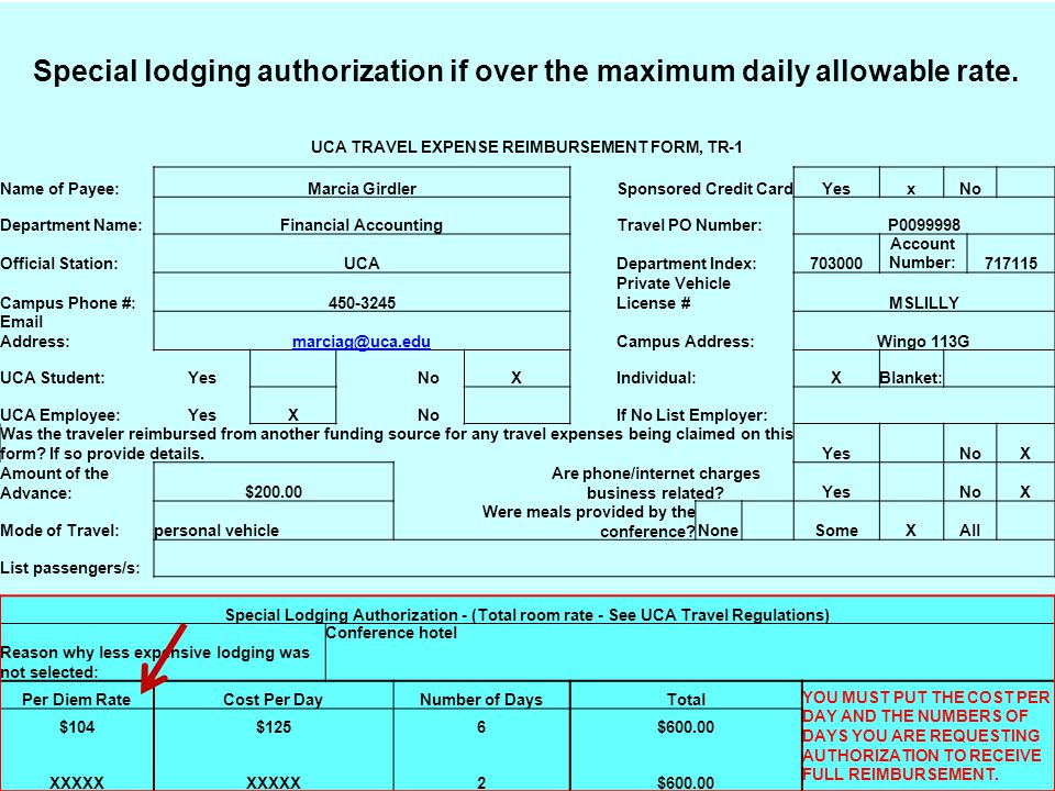 Special lodging authorization if over the maximum daily allowable rate.