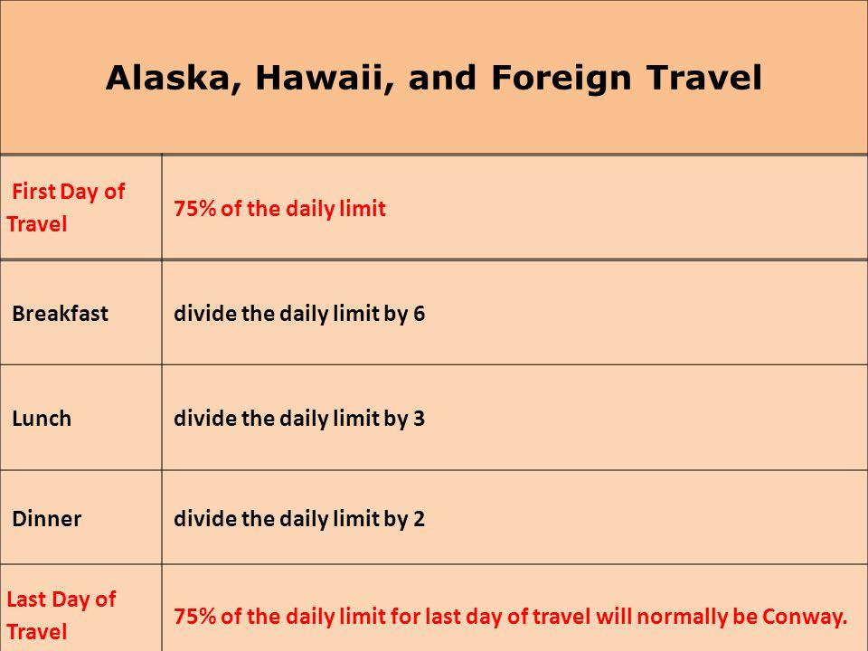 Alaska, Hawaii, and Foreign Travel