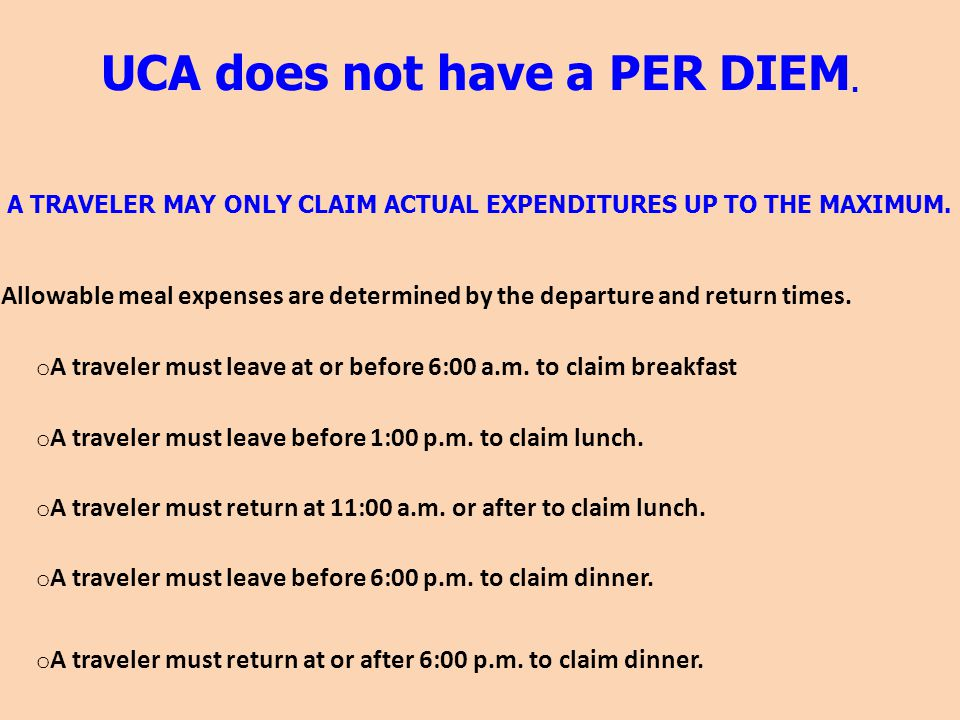 UCA does not have a PER DIEM.