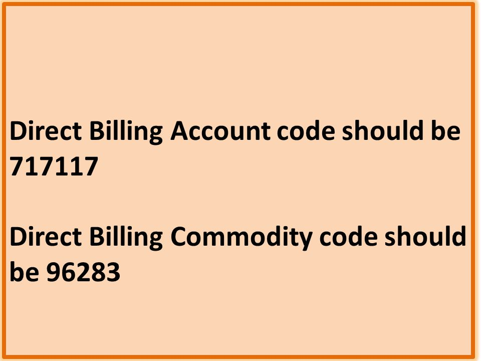 Direct Billing Account code should be 717117