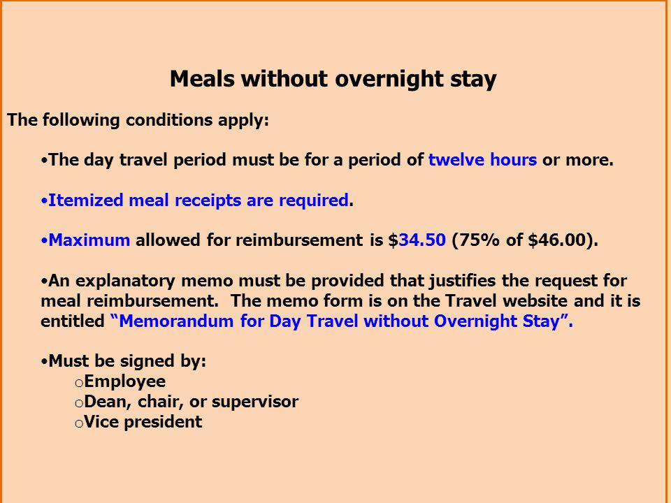 Meals without overnight stay