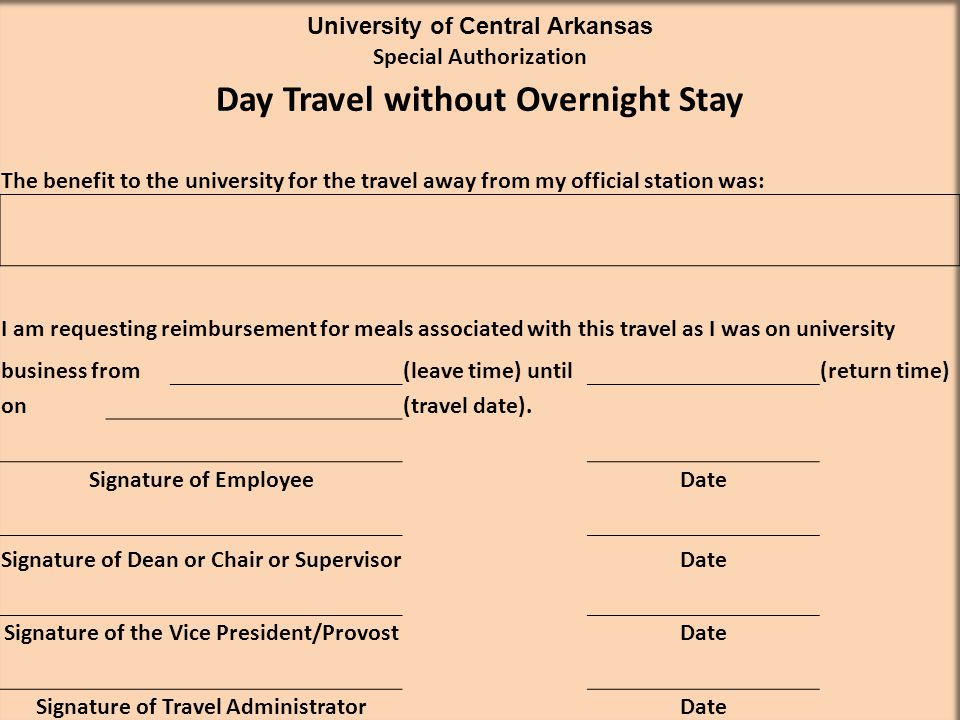 Day Travel without Overnight Stay
