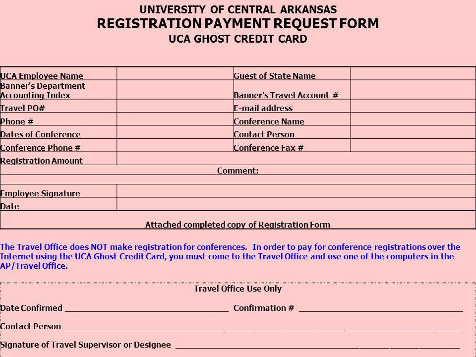 REGISTRATION PAYMENT REQUEST FORM