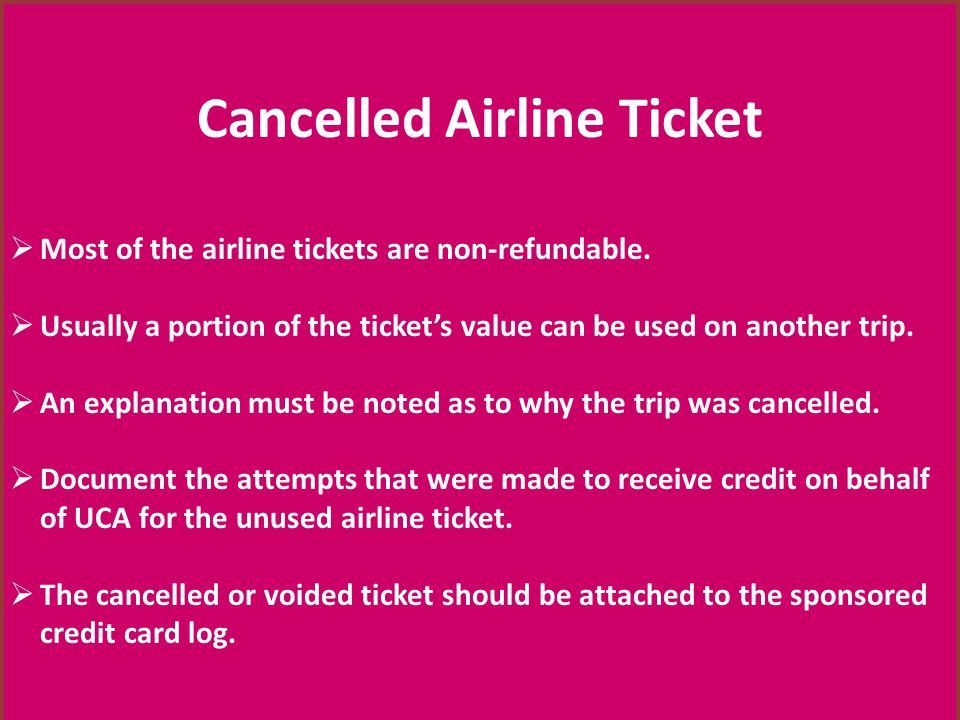 Cancelled Airline Ticket
