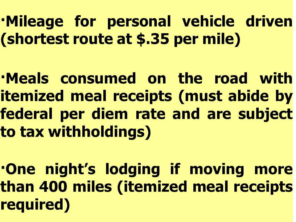 ·Mileage for personal vehicle driven (shortest route at $.35 per mile)