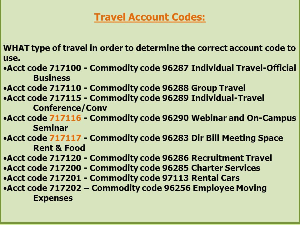 Travel Account Codes: WHAT type of travel in order to determine the correct account code to use.