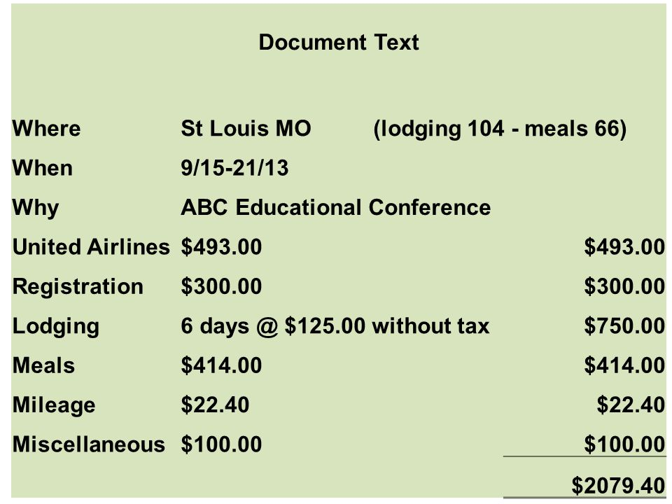 Document Text Where. St Louis MO (lodging 104 - meals 66) When. 9/15-21/13. Why. ABC Educational Conference.