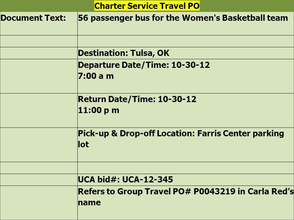 Charter Service Travel PO