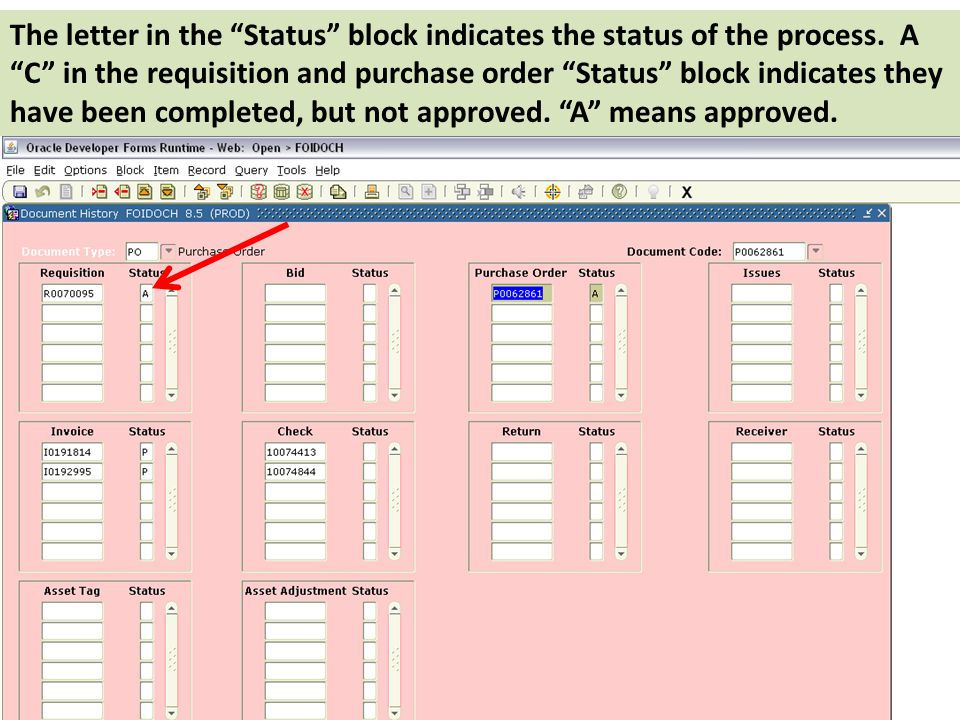 The letter in the Status block indicates the status of the process