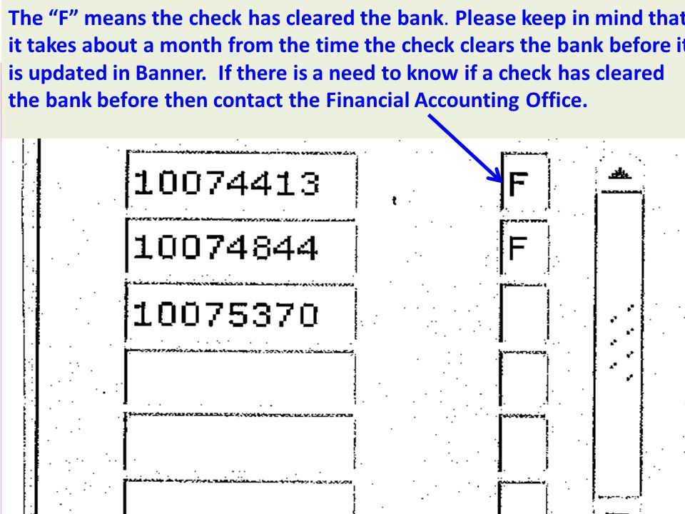 The F means the check has cleared the bank