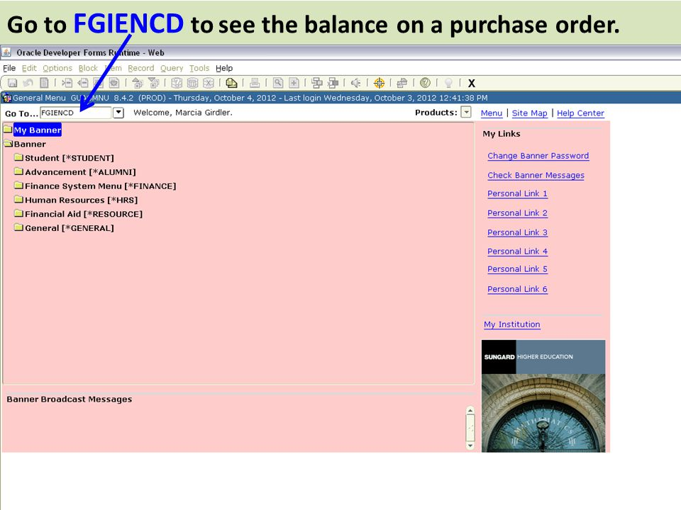 Go to FGIENCD to see the balance on a purchase order.