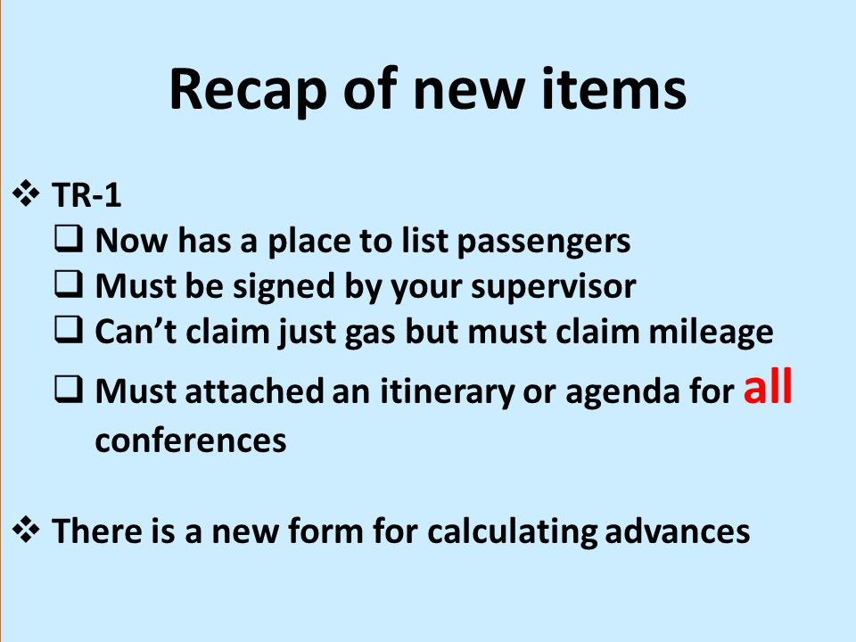 Recap of new items TR-1 Now has a place to list passengers
