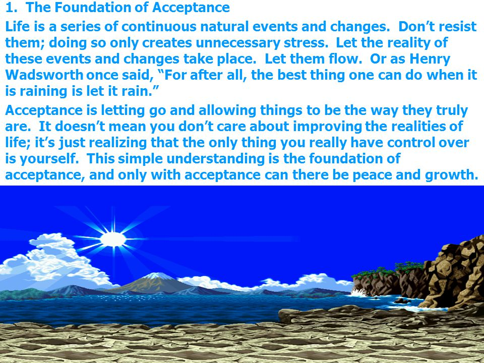 1. The Foundation of Acceptance