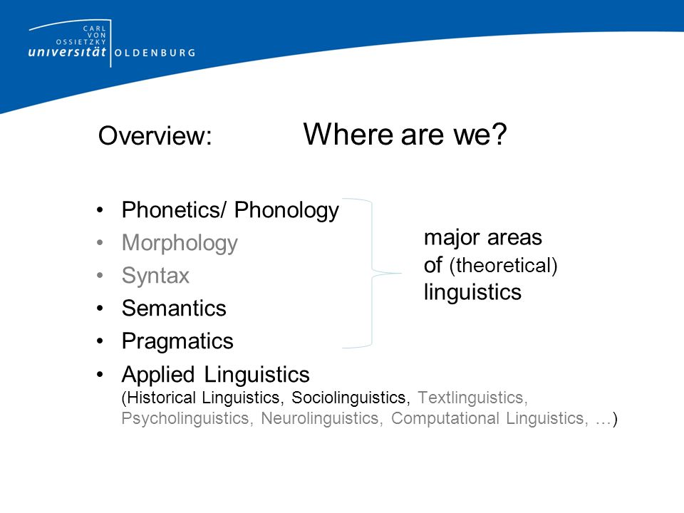 Overview: Where are we Phonetics/ Phonology Morphology major areas