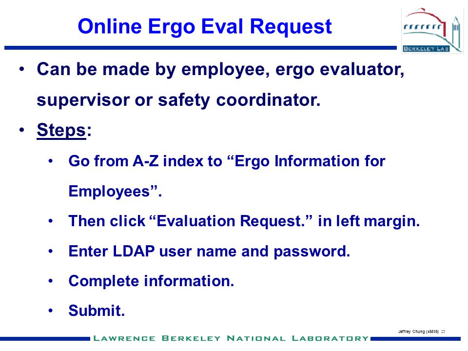 Online Ergo Eval Request