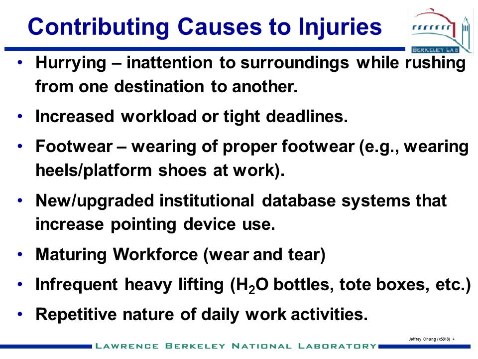 Contributing Causes to Injuries