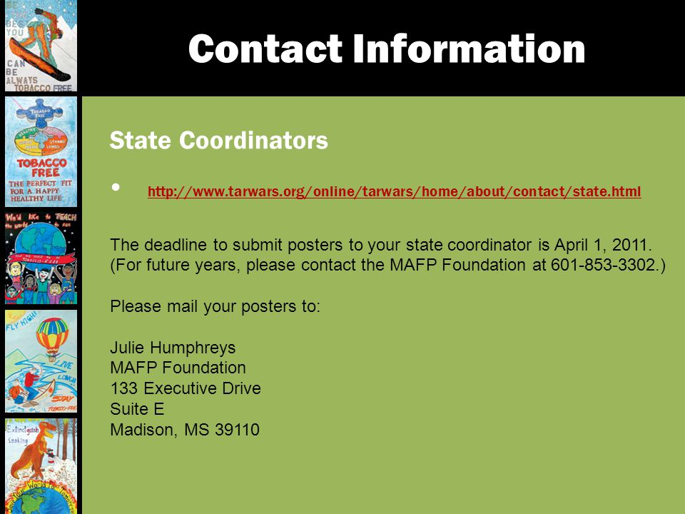 Contact Information State Coordinators. http://www.tarwars.org/online/tarwars/home/about/contact/state.html.