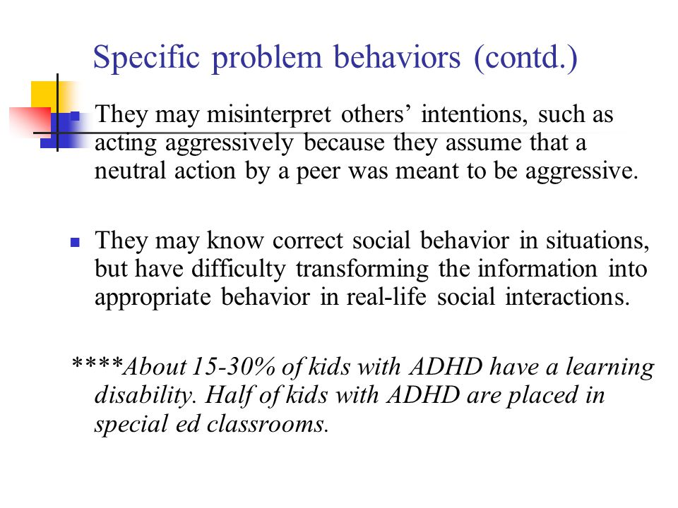 Specific problem behaviors (contd.)