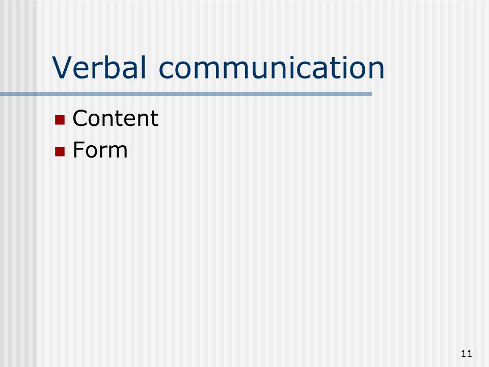 Verbal communication Content Form