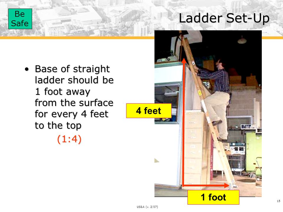 Ladder Set-Up Base of straight ladder should be 1 foot away from the surface for every 4 feet to the top.