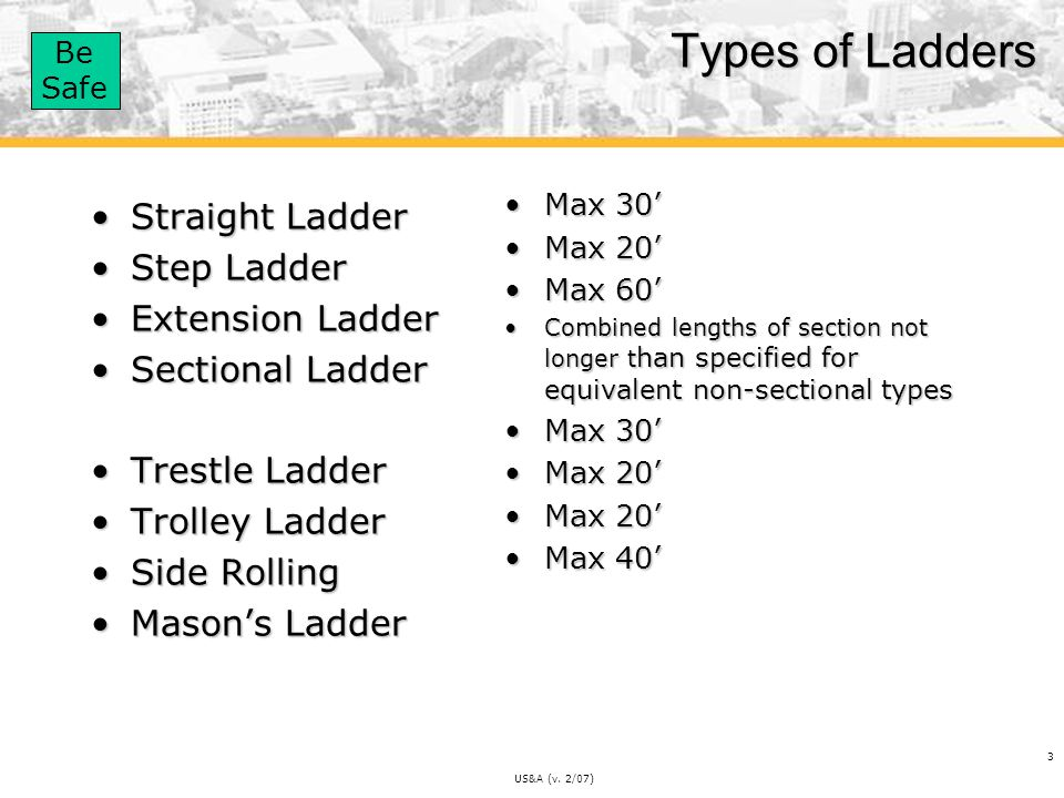 Types of Ladders Straight Ladder Step Ladder Extension Ladder