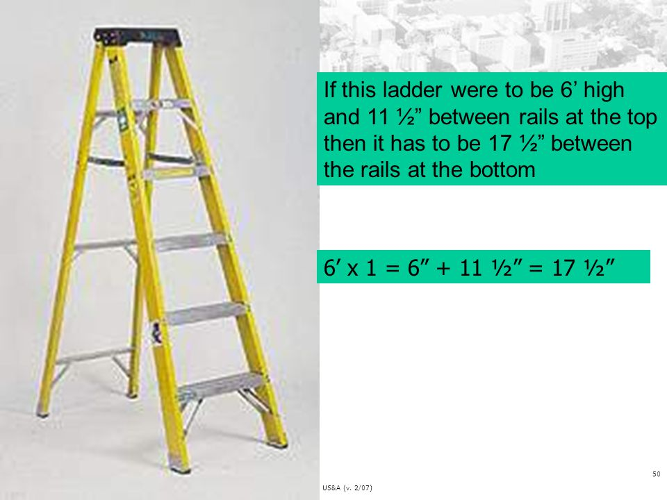 If this ladder were to be 6' high and 11 ½ between rails at the top then it has to be 17 ½ between the rails at the bottom