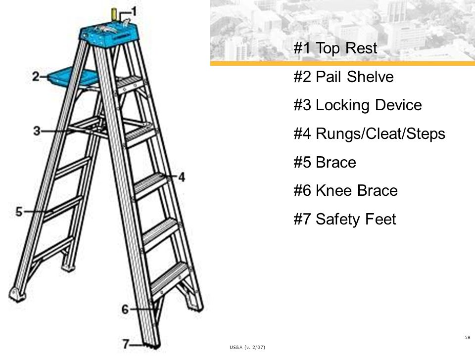 #1 Top Rest #2 Pail Shelve #3 Locking Device #4 Rungs/Cleat/Steps