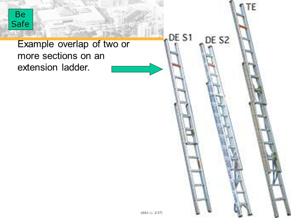 Example overlap of two or more sections on an extension ladder.