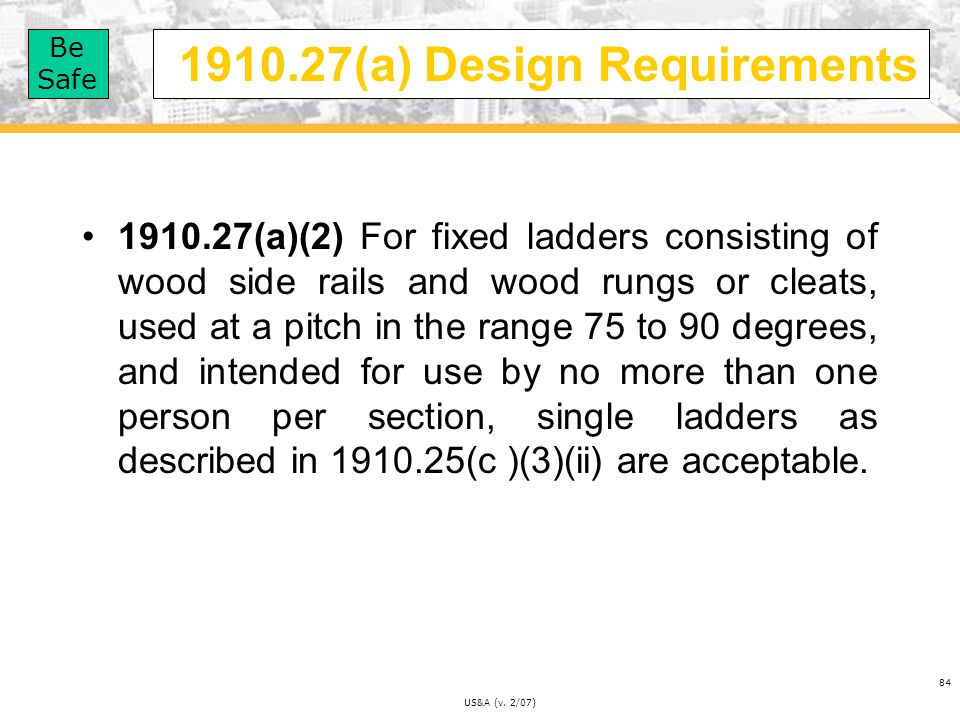 1910.27(a) Design Requirements