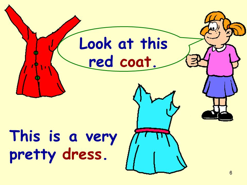 Look at this red coat. This is a very pretty dress.