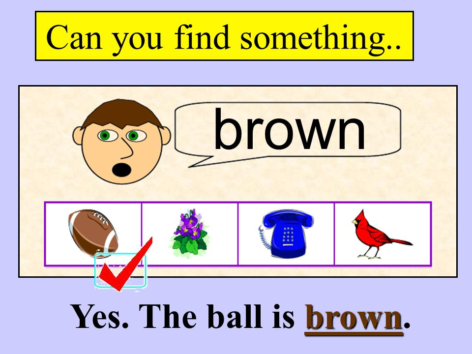 Can you find something.. brown Yes. The ball is brown.